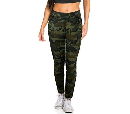 Pantaloni tuta da donna kz-380 mod. gipsy fantasia mimetica taglie da s ad xl. media wave store ® (m/l, verde)