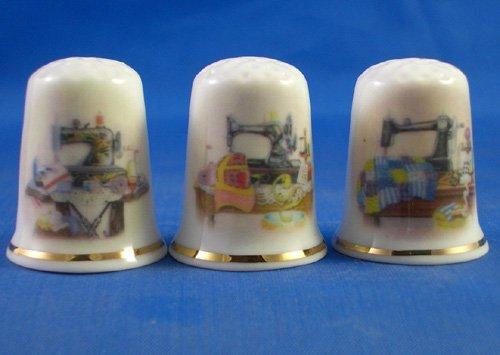 Porcelana China colección de dedales Juego de tres de costura para Ta