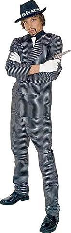 Al Capone Kostüm grau-weiß für Herren | Größe 54| 3-teiliges Mafia Kostüm | Gangster Faschingskostüm für Männer | Mafiaboss (Al Capone Kostüm)