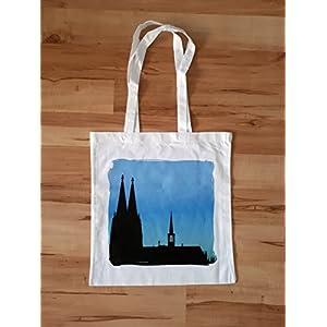 Tragetasche (groß) Dom, blau - Stoffbeutel - Geschenk - Köln - Kölner Dom