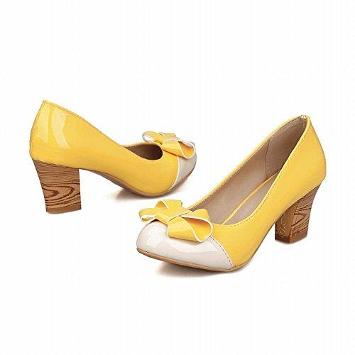 Mee Shoes Damen modern bequem süß Lackleder mit Schleife Geschlossen runder toe Pumps mit hohen Absätzen Gelb