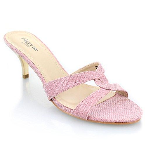 Aarz donne di sera del partito signore casuali Prom tacco basso sandalo Dimensioni (Oro, Argento, Rosa, Champagne, Nero)