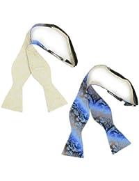 Landisun SN165 Beige Paisley Bleu Motif Cachemire 2 Couleurs Réversible Nœud Papillon