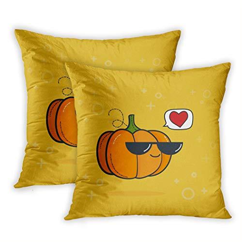 Nekkzi Cushion Covers Set of Two Print Green Food Cartoon Funny Pumpkin Black Sunglasses Vegan Love Half Sofa Home Decorative Throw Pillow Cover 16x16 Inch Pillowcase Hidden Zipper