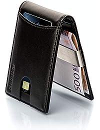 LØWENHERZ Leder Kreditkartenetui mit Geldklammer und NFC / RFID Schutz in schwarz - Herren Kartenetui schmal mit Money Clip