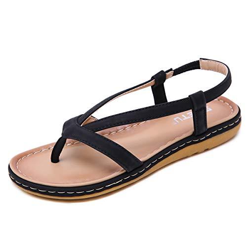 Zoerea Estate Sandali Piatti da Donna Casual Open Toe Infradito Elegante Donne Scarpe da Spiaggia Vacanza Antiscivolo Nero, Etichetta 42