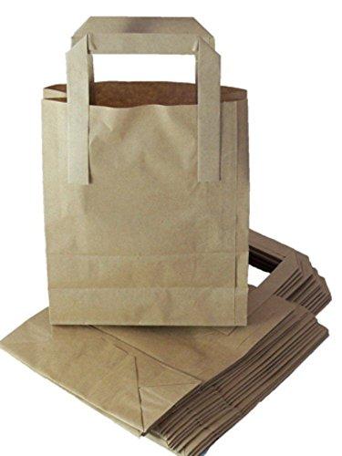 100 sacchetti in carta Kraft marrone, misura piccola, con manici, fondo SOS di blocco, dimensioni: 17,78 x 8,89 x 22,86 cm, per cibo da asporto, 80 g/m²