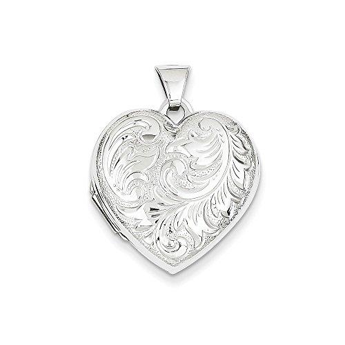 14k White Gold Domed Heart Locket White Hearts Snap