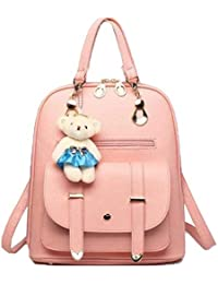 b3c6a7ff6ece Alice Women's Leather Travel Rucksack Small Students School Backpacks  Shoulder Bag (Baby Pink)