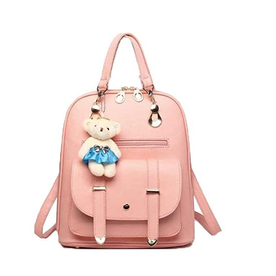 Premium 2018 New Women Leather Backpacks Students School bags for Girls Teenagers Travel Rucksack Black Color Small Shoulder Bag (peach)