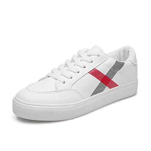 WZG La nouvelle impression artificielle chaussures printemps PU chaussures de sport pour aider les chaussures basses avec des chaussures à lacets plats White