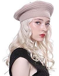 URSFUR Boina Vasco de Mujer Invierno Lana Gorro Francés Beret Beanie Cálido  Sombrero de Pintor Elegante 91db3fff0d5