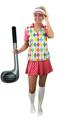 ILOVEFANCYDRESS Frauen Golf KOSTÜM VERKLEIDUNG=4TEILIG -Oberteil +Rock+Kappe+AUFBLASBARER Golf SCHLÄGER=100% Polyester= SEXY Golfer Frau=OHNE KNIESTRÜMPFE= Fasching Karneval=MEDIUM