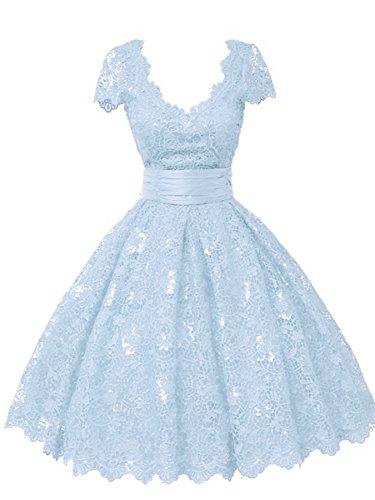 Ballkleider Abendkleider Kurz Damen Hochzeitskleider A Linie Spitze V-Ausschnitt Kurzarm Himmelblau...