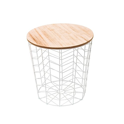 THE HOME DECO FACTORY Table Filaire Chevron, MDF + Metal, 38,5 x 38,5 x 40 cm