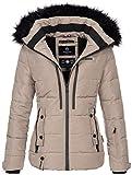 Marikoo warme Damen Winter Jacke Winterjacke Steppjacke gefüttert Kunstfell B682 [B682-Snowgi-Taupe-Gr.S]
