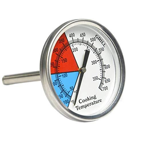 WWQ Professionelles Thermometer für Ofen, Grillkohle, Smoker und Gasgrills, 53 mm Zifferblatt