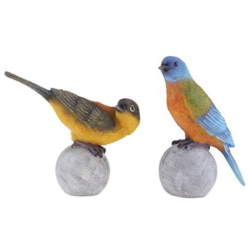 Tubayia Coppia di Statuette da Giardino Forma di Uccellino per casa e Giardino