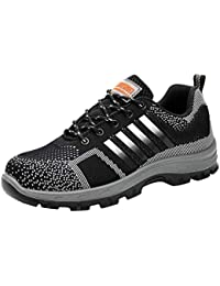 Safety Shoes for Men Women, Unisex Work Shoes Steel Toe S3 Protective Shoes Breathable Mesh