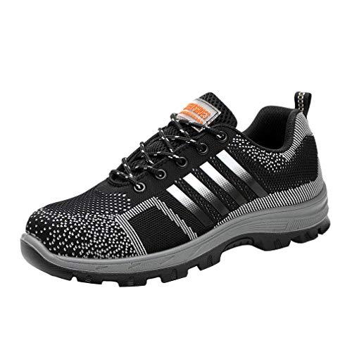 Stahlkappe Sicherheitsschuhe Herren - Atmungsaktiv und Leichte Lace up Low-Top Trekking Arbeitsschuhe mit Stahlkappe Männer Mode Arbeitsschuhe Hiking Schuhe