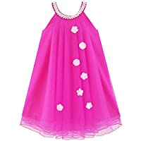 JV24 Flower Girls Dress Halter Dress Pearl Party Wedding Birthday Age 7 Years