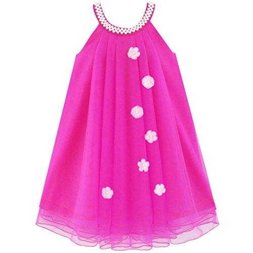 (Mädchen Kleid Blume Halfter Kleiden Perle Hochzeit Gr. 134)