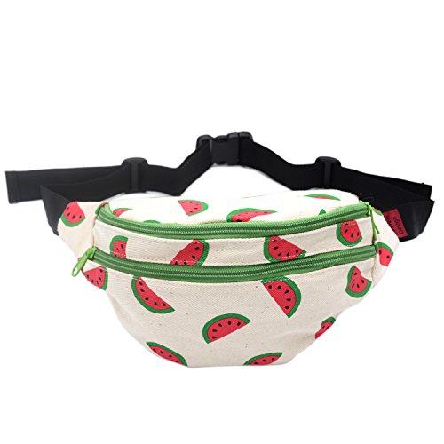 Fanny Pack Wassermelone Hüfttasche Taille Tasche Leinwand Bum Gürtel Hip Säckchen Taschen Festival, rot (American Taschen Retro)