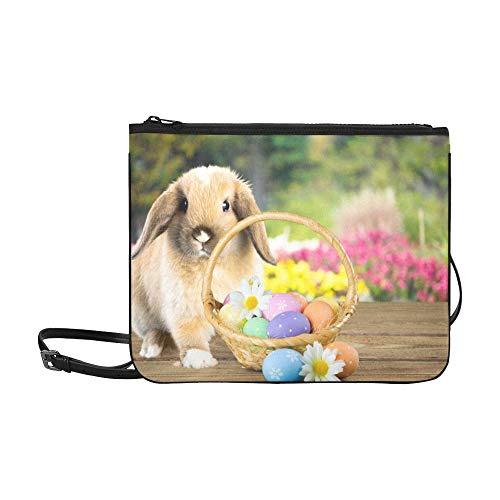 EIJODNL Wenig lustiges Kaninchen, das im Blatt-Muster sitzt Gewohnheit hochwertige Nylon-dünne Handtasche Umhängetasche Umhängetasche