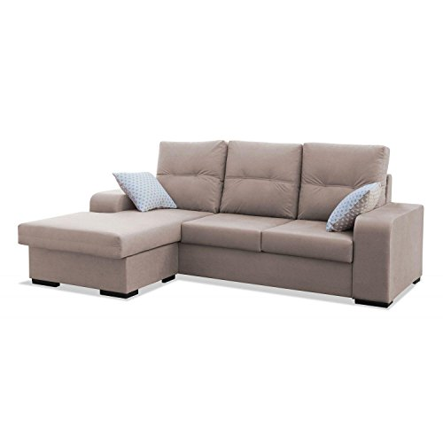 Mueble Sofa ChaiseLongue, MONTADO DE FABRICA, 3 plazas, Color Beige, cheslong Chaise...