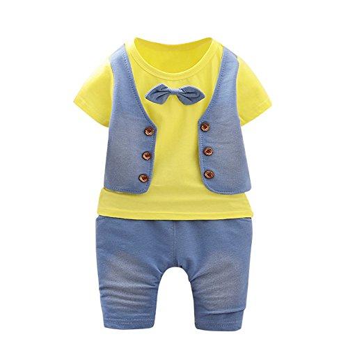 UFODB Baby Kleidung Set, Junge Sommer Gentleman Kids Boys Krawatte Pullover Kurze ärmel T-Shirt Shorts Hosen Sportanzug (Weihnachten Boy Kleidung Baby)
