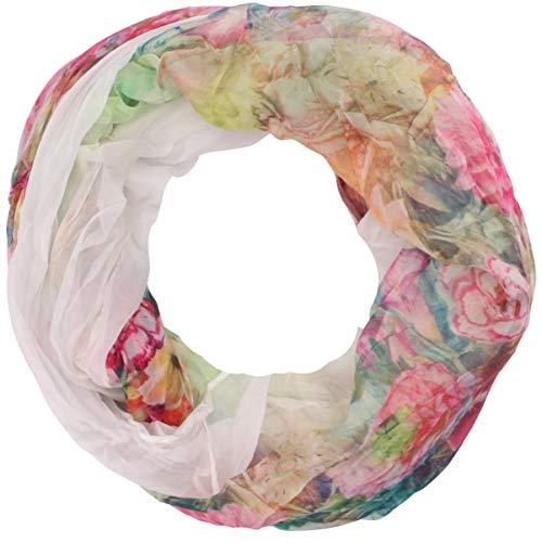Zarter Sommer Crinkle Loopschal Model: Blume1 angenehm und leicht zu tragen, Damen Rundschal, Schal, Loop, Sommerschal (weiß) -