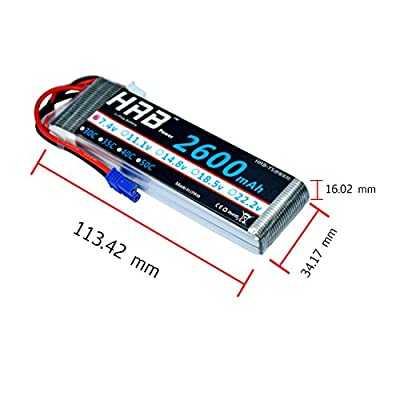 HRB RC Lipo Battery 7.4V 2600MAH 30C 2S Battery Pack Replacement with EC2 Plug For RC Racing Drone Boat Car Truck Model