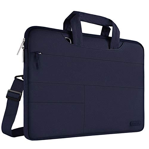 MOSISO Laptop Schultertasche Kompatibel 15-15,6 Zoll 2018 2017 2016 MacBook Pro mit Touch bar A1990 / A1707, 14 Zoll ThinkPad Chromebook, Polyester Aktentasche mit Aufbewahrungstaschen, Navy Blau