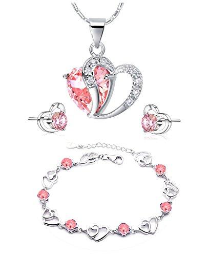 findout swarovski Element Amethyst rot, rosa, blau weiß Kristall-Herz Silber Anhänger Halskette + Ohrring + Armband für Frauen Mädchen. (F497) (rosa Kristall-Set)