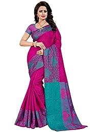 Maahik Women's Cotton Silk Saree (SWMK1318, Pink Rama, Free Size)