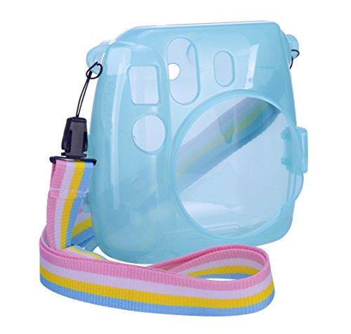 Goocor Kristall Kameratasche mit Verstellbarem Regenbogen Schultergurt und Objektivtuch für Fujifilm Instax Mini 9 / Mini 8 / Mini 8+ Instant Kamera - Blau 2