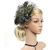 OULII Peacock Pluma Pinza de Pelo Fascinator Pin del Pelo Cóctel Mujeres Niñas Headwear (Negro)