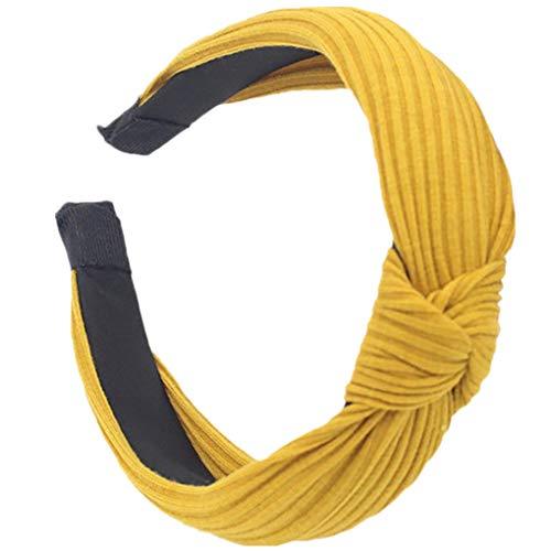 Dorical Haarband Yoga Headband Hairband Damen Stoff Haarreif mit Schleife-Vintage-Wunderschön Stirnband,Haarschmuck Haarreif mit Schleife-Vintage-Wunderschön Stirnband (Gelb)