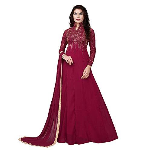 Monika Silk Mill Women\'s Georgette Semi Stitched Anarkali Suit (Maisha 4806A _Red_ Free size)