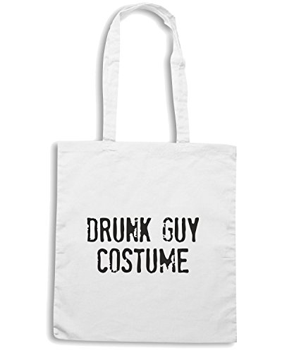 T-Shirtshock - Borsa Shopping FUN1276 drunk guy costume olv mens cu 4 1 Bianco
