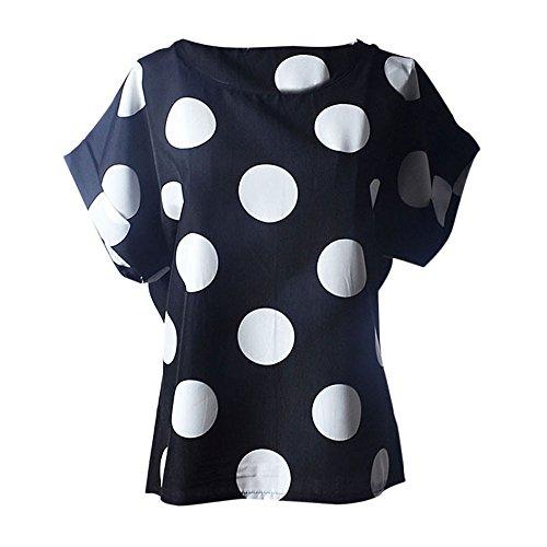 YEBIRAL Mujer Casual de Camisetas,Redondo Cuello Blusa de Verano Manga Corta Suelto Color Sólido Lunares Corta T-Shirt Tops Blusas(XXL,Negro)
