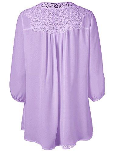 Luojida Donna Maglietta Manica Lunga Oversize T Shirt Pizzo Scollo A V Chiffon Casuale Primavera Autunno Vacanze Casa Usura Camicie Porpora