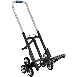 Chrisun Chariot D'escalier 150kg Chariot D'escalierTransport EscalierChariot à Main Pliable Industriel Diable Pliable Acier Triple Roues (Chariot D'escalier)