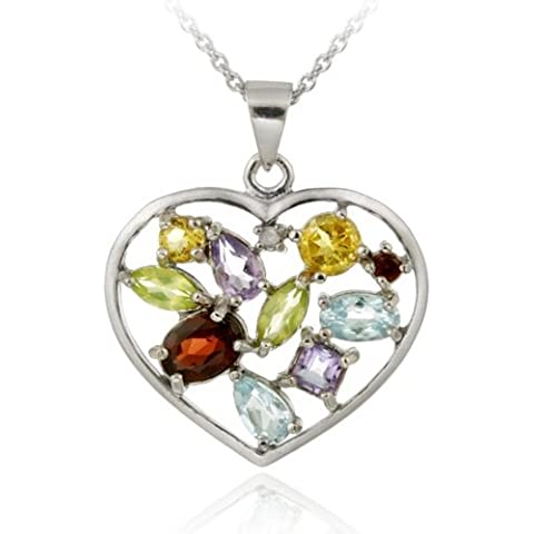 & in argento Sterling con ciondolo a forma di cuore con (Peridot Forma Di Cuore Ciondolo)