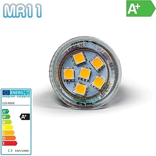 Projecteur lED mR11 gU4/- 6 lED cMS 3 chips-sMD - 1,3W 90 lm-blanc froid