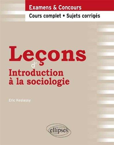 Leons d'Introduction  la Sociologie