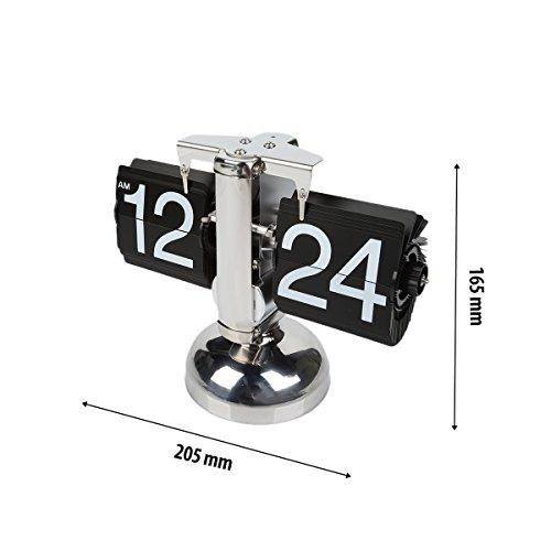 Leaningtech retro acciaio inossidabile small scale flip down orologio, desktop home tavolo internal gear operated, modalitàrn digitale meccanico orologio decorazione
