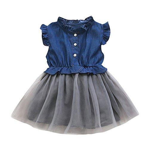 inkind Baby Mädchen Denim Kleid Langarm Prinzessin Tutu Kleid Cowboy Kleidung (90 100 110 120 130 140,Dunkelblau) ()