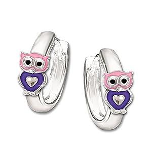 CLEVER SCHMUCK Silberne kleine Kindercreole Ø 10 mm Mini Eule mit Herz rosa violett glänzend STERLING SILBER 925