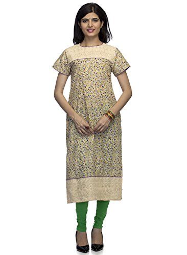 Indietoga women Floral Print Lucknow Chikankari Embroidery Yoke Long Beige party wear casual Kurtis For Girls - Large